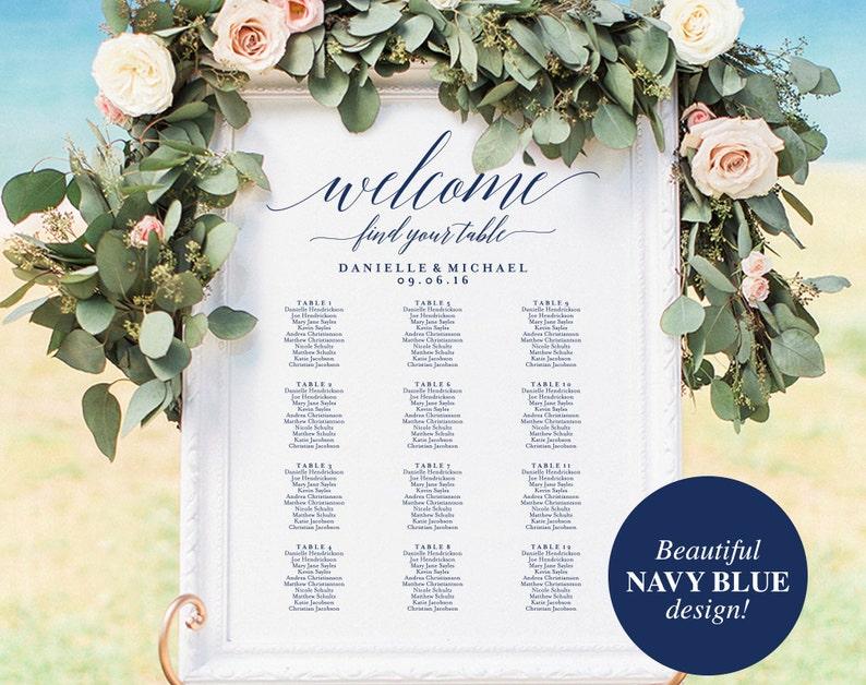 Navy Wedding Seating Chart Sign Navy Seating Chart Printable image 0