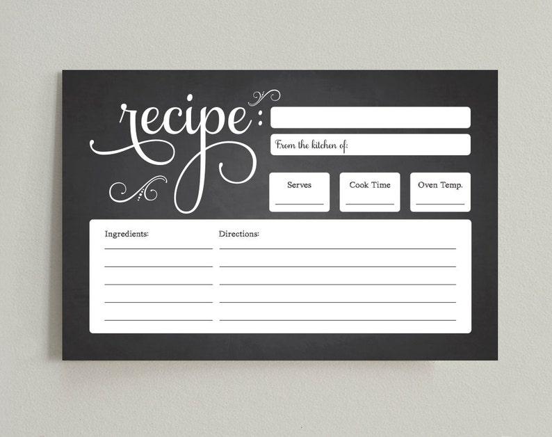 Recipe Printable Recipe Card Bridal Shower Recipe Card 4x6 image 0