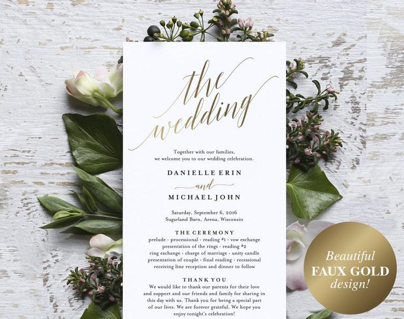 Gold Wedding Program Wedding Program Printable Wedding image 0