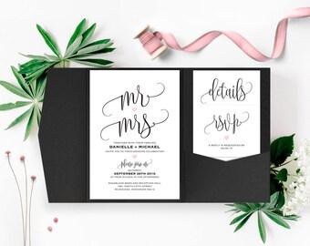 Wedding Invitation, Wedding Invitation Template, Wedding Invitations, Pocket Invitations, Pocketfold, PDF Instant Download #BPB322_1B