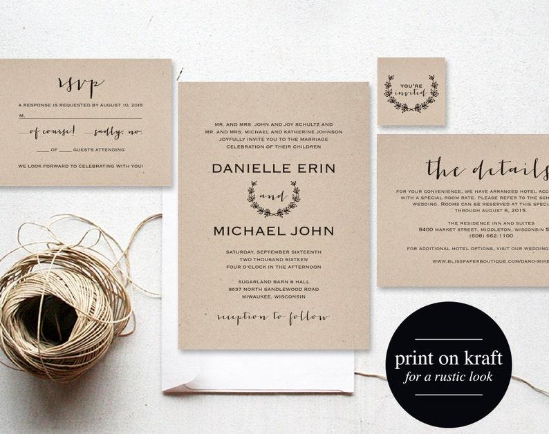 Vintage Wedding Invitation Printable Wedding Invitation image 0