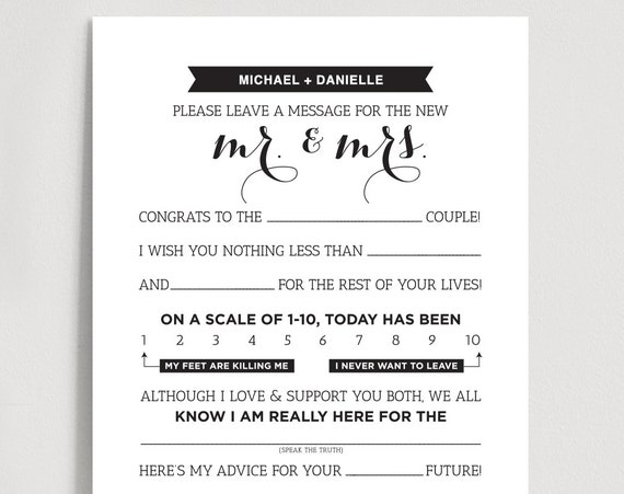 graphic relating to Wedding Mad Libs Printable identified as Marriage Crazy Libs Printable Template Kraft Indicator - Mr and Mrs, Bride and Groom / Card / Activity - Partnership Suggestions Keepsake #BPB103MW