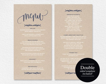 Wedding Menu Template, Navy Blue, Menu Cards, Printable Wedding Menu, Menu Printable, Rustic Wedding, PDF Instant Download #BPB219_4