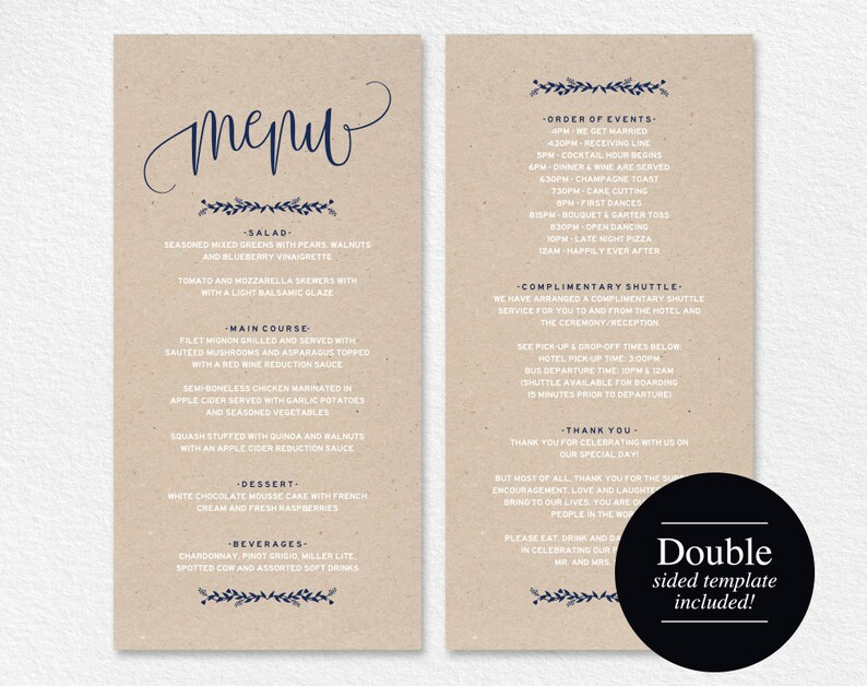 Wedding Menu Template Navy Blue Menu Cards Printable image 0