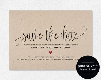 Save the Date Template, Save the Date Card, Save the Date Printable, Wedding Printable, Red Wedding, Rustic, PDF Instant Download #BPB234_2B