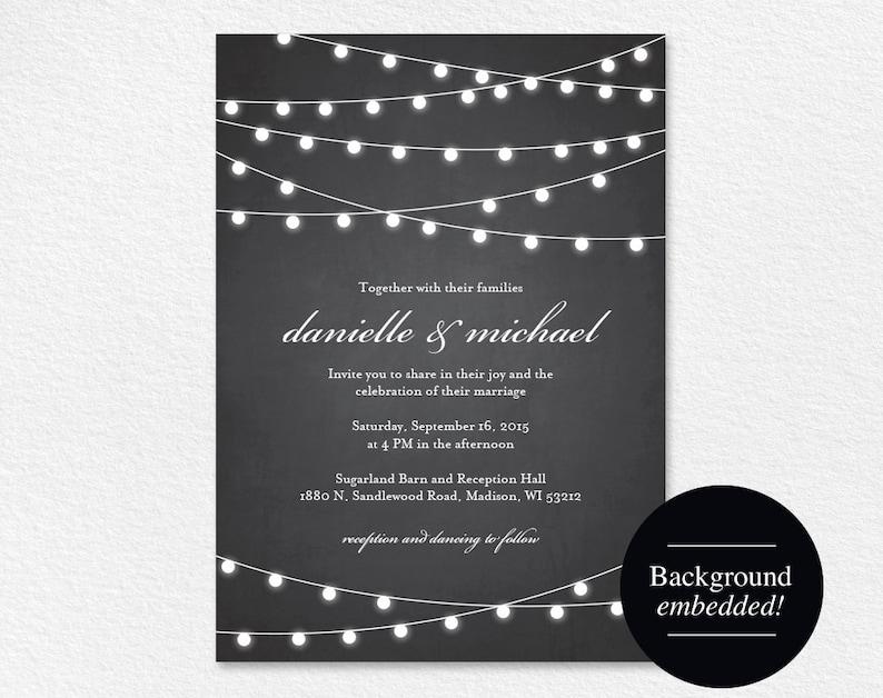 Rustic Wedding Invitation Chalkboard Wedding Invitation image 0