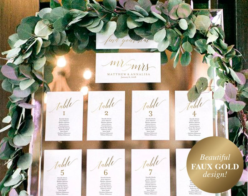 Faux Gold Wedding Seating Chart Template Seating chart image 0
