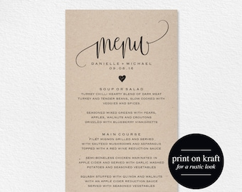 Rustic Wedding Menu, Wedding Menu Template, Menu Cards, Menu Printable, Rustic Wedding, Wedding Dinner Menu, PDF Instant Download #BPB203_4