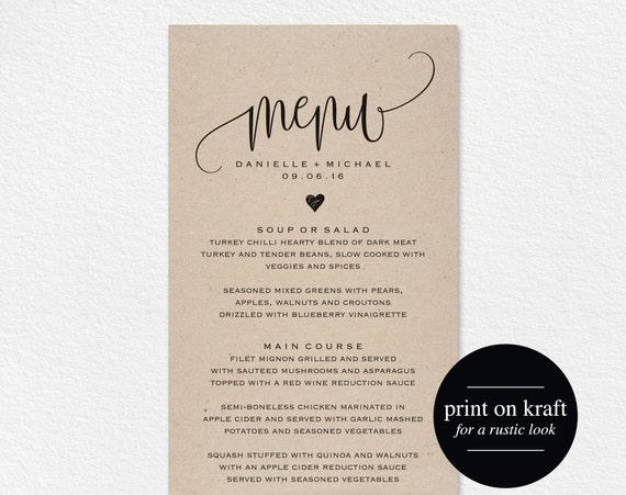 rustic wedding menu wedding menu template menu cards menu etsy
