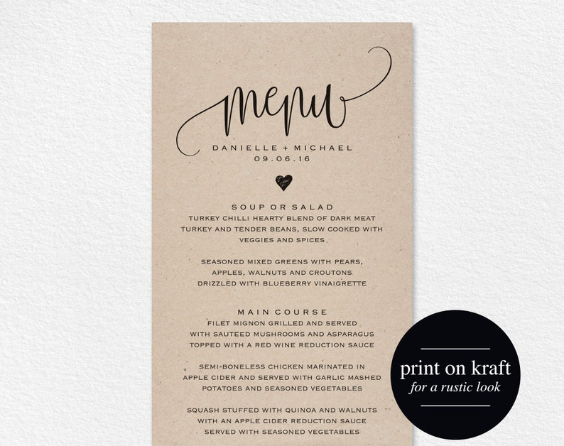 Rustic Wedding Menu Wedding Menu Template Menu Cards Menu image 0