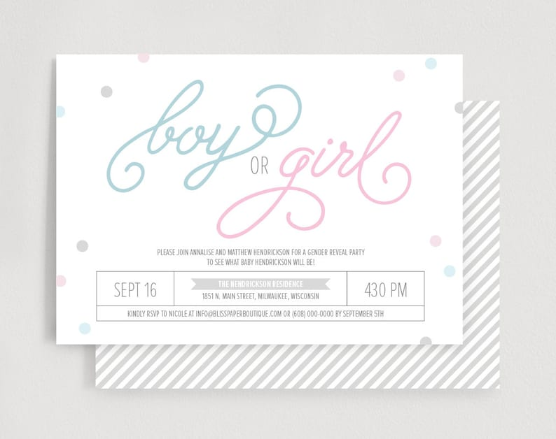 Gender Reveal Invitation Confetti Gender Reveal Party image 0