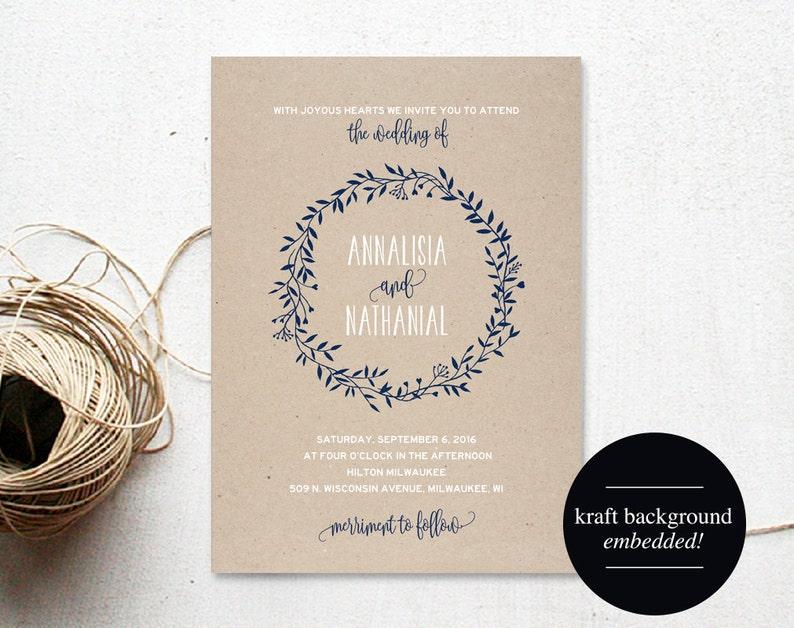 Wreath Wedding Invitation Template Navy Blue Invitation image 0