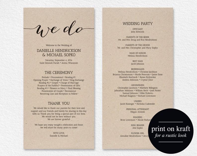 Wedding Program Printable Template Printable Program Program image 1