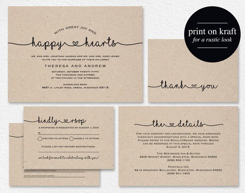 Wedding Invitation Printable Rustic Wedding Invitation Kraft image 1