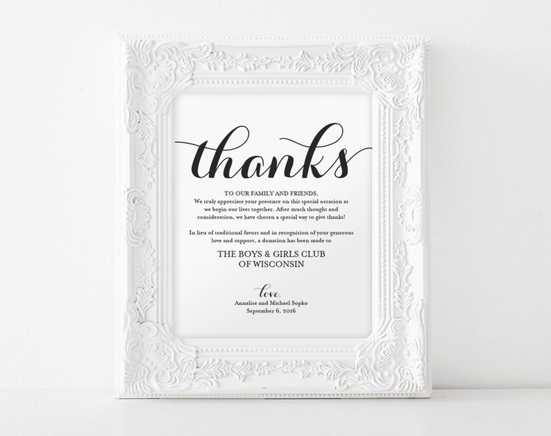 In lieu of wedding favors Wedding Donation Sign Charity image 0