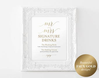 Faux Gold Signature Drinks Sign, Signature Cocktails, Bar Sign, Bar Menu, Gold Wedding Sign, PDF Instant Download #BPB324_36