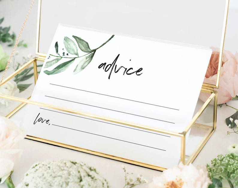 Advice Cards Greenery Wedding Advice Cards Marriage Advice image 0