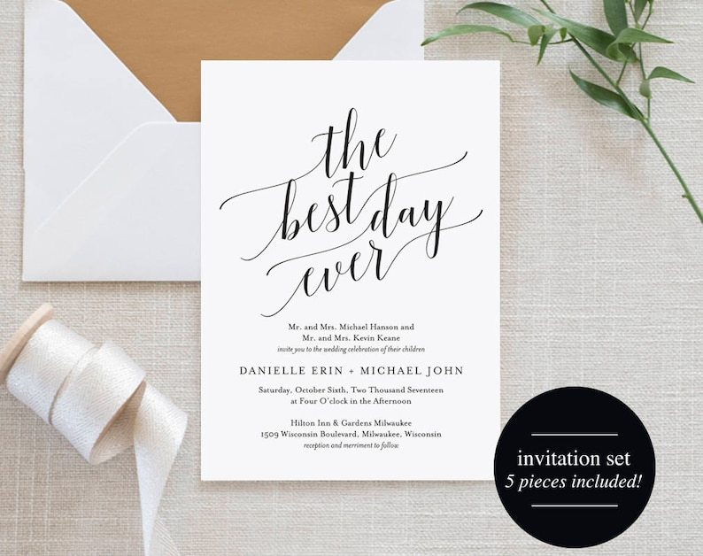 Wedding Invitation Wedding Invitation Template Best Day Ever image 0