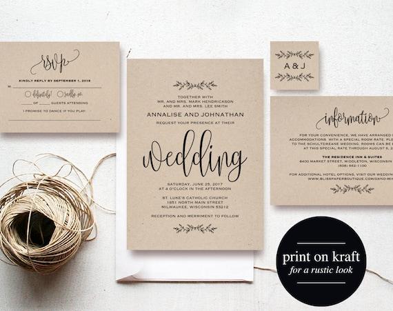 Rustic Wedding Invitations Nz: Kraft Wedding Invitation Printable Rustic Invitation Set