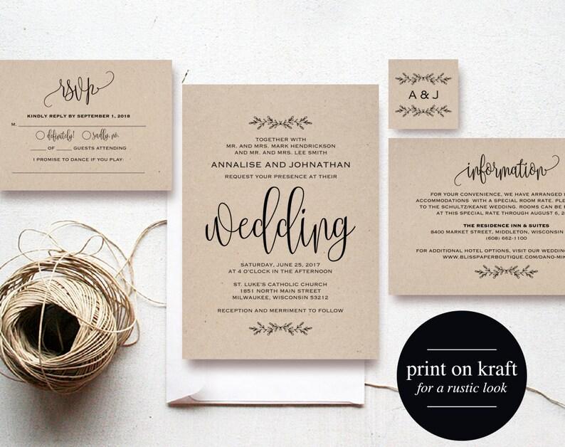 Kraft Wedding Invitation Printable Rustic Invitation Set image 0