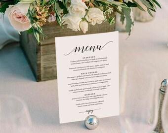 Wedding Menu Template, Wedding Menu Printable, Wedding Menu Cards, Table Menu, Menu Sign, Table Setting, PDF Instant Download #BPB310_4B
