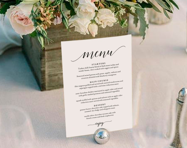 Wedding Menu Template Wedding Menu Printable Wedding Menu image 0
