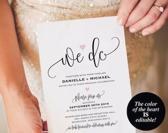 We Do Wedding Invitation Template, Heart Wedding Invitation, Wedding Invitation Printable, Wedding Template, PDF Instant Download #BPB322_1