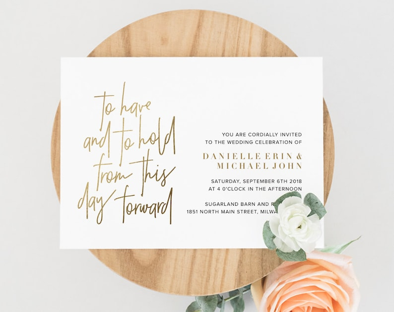 Gold Wedding Invitation Template To have and to hold Wedding image 0