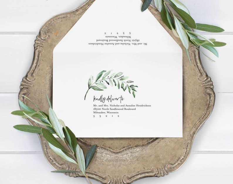 Greenery Wedding Envelope Template Wedding Envelope image 0
