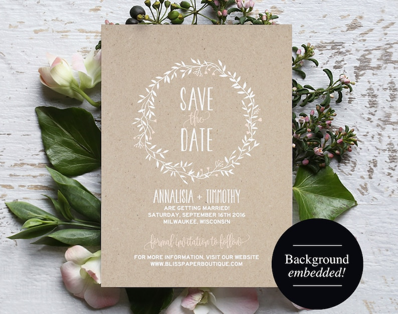 Save the Date Template Blush Save the Date Rustic Save the image 0