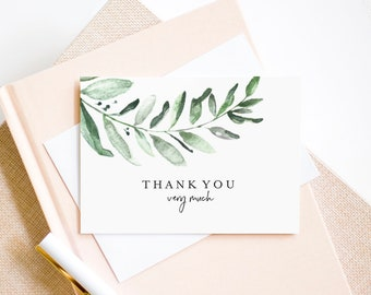 Greenery Thank You Card, Wedding Thank You Template, Folded Thank You, Wedding Printable, Tented, PDF Instant Download #BPB330_27