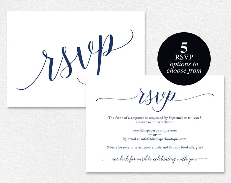 Navy RSVP Cards RSVP Postcard rsvp template wedding rsvp image 0