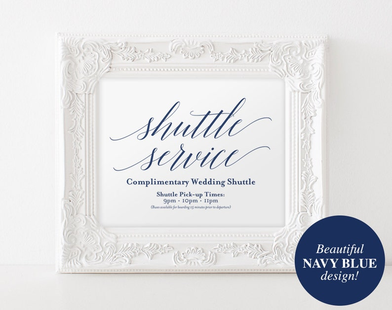 Shuttle Service Sign Navy Wedding Sign Wedding Printable image 0