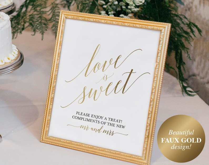 Faux Gold Love is Sweet Sign Love is Sweet Printable Dessert image 0