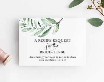 Recipe Request Insert Card for the Bride-To-Be, Bridal Shower Enclosure Printable, PDF Instant Download #BPB330_19_2