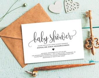 Baby Shower Invitation, Baby Shower Invitation Template, Invitation Printable, Boy, Girl, Baby Shower Invite, PDF Instant Download #BPB309_1