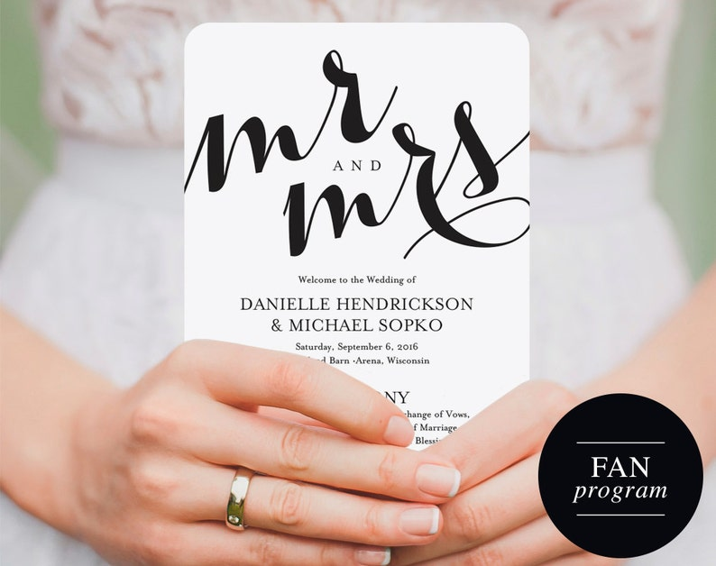 Wedding Fan Program Wedding Template Wedding Printable Fan image 0