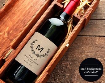 Wedding Wine Label, Custom Wine Label, Monogram Wine Label Printable, Wedding Printable, PDF Instant Download #BPB168_28