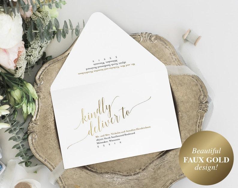 Calligraphy Wedding Envelope Envelope Printable Gold image 0