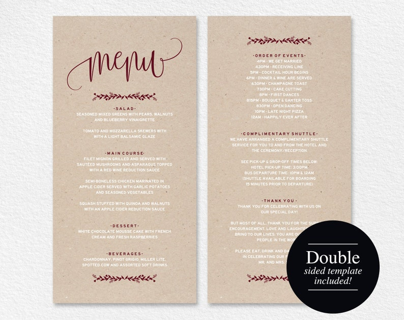 Wedding Menu Template Menu Cards Merlot Printable Wedding image 0