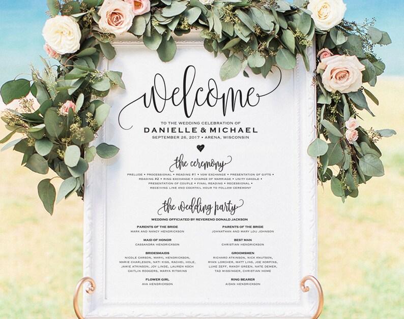 Wedding program Printable Welcome Wedding Sign Program Sign image 0