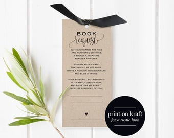 Book Request Bookmark, Book Request Printable, Books for the Baby, Book Request Baby Shower Template, PDF Instant Download #BPB309_2B