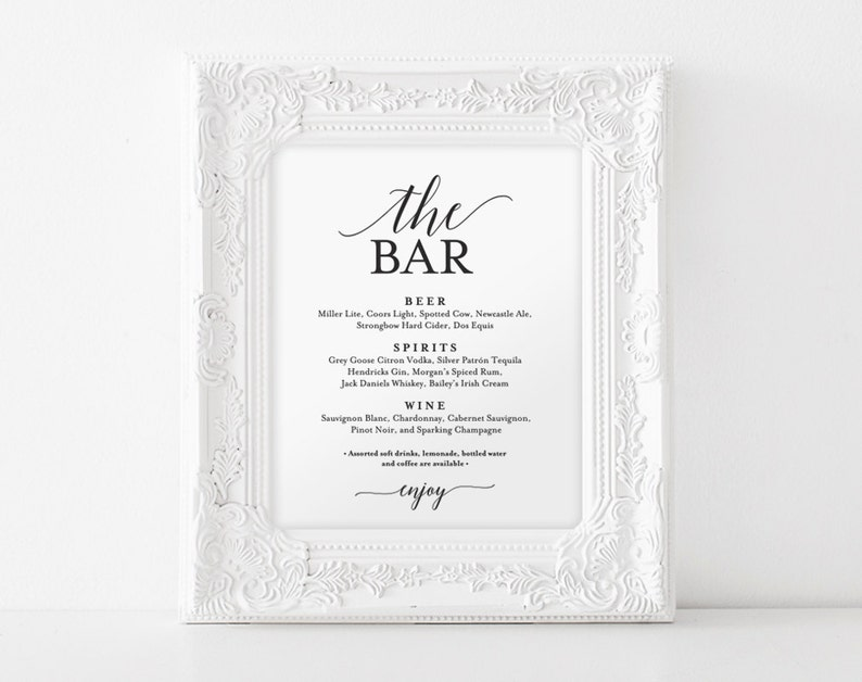 Bar Menu Sign The Bar Sign Wedding Bar Menu Printable image 0