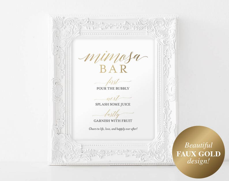 Faux Gold Mimosa Bar Sign Mimosa Sign Gold Wedding Sign image 0