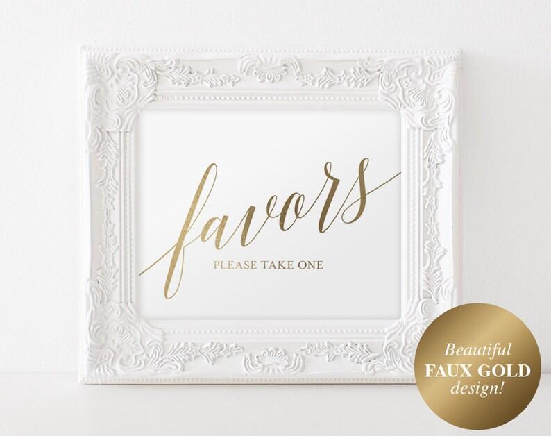 Wedding Favor Sign Gold Wedding Favors Sign Gold Wedding image 0