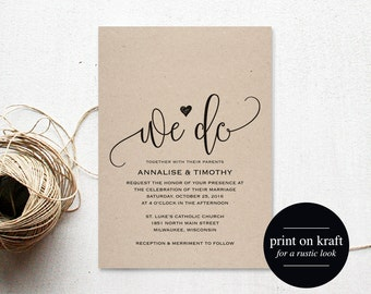 We Do Wedding Invitation Template, Rustic Kraft Invitation, Cheap Invitation, DIY, Kraft Printable, PDF Instant Download #BPB203_1