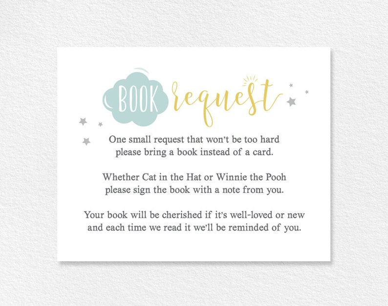 Book Request Card Baby Shower Book Request Books for the image 0