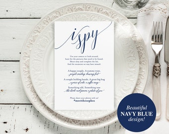 I Spy Wedding Game, Wedding Game, Wedding hashtag, Navy Wedding Printable, Wedding Card, Wedding Ideas, DIY, PDF Instant Download #BPB320_77