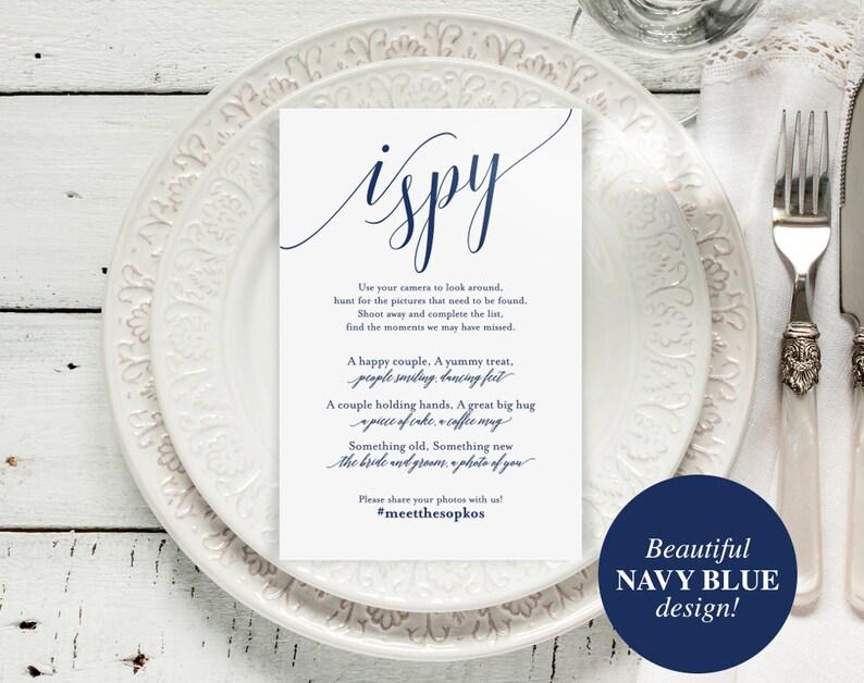 I Spy Wedding Game Wedding Game Wedding hashtag Navy image 0