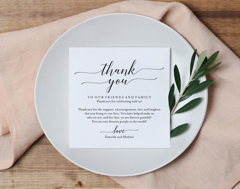 Wedding Thank You Card Thank You Printable Wedding Table image 0